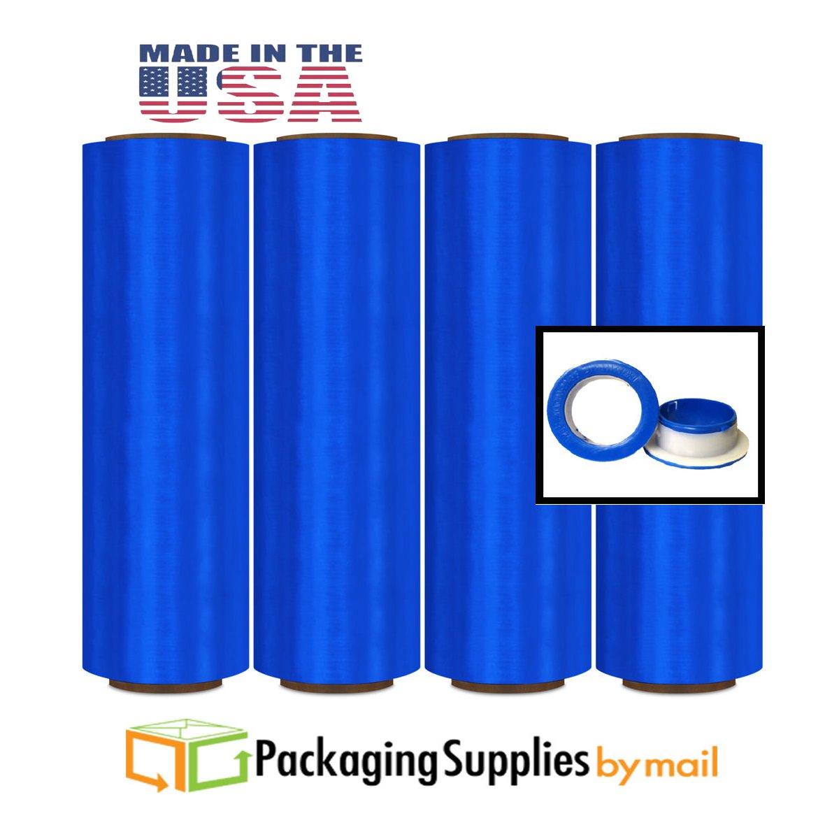(8 Rolls) Blue Color Pre-Stretch Wrap Film w/Folded Edges 17'' x 1476' 8.5 Mic. (32 Ga) + Free Dispenser