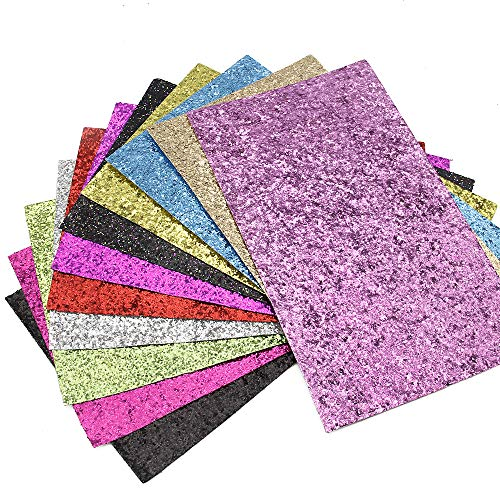 David Glitter Sequins Fabric Faux Leather Sheets Synthetic Leather 11 Pcs 8