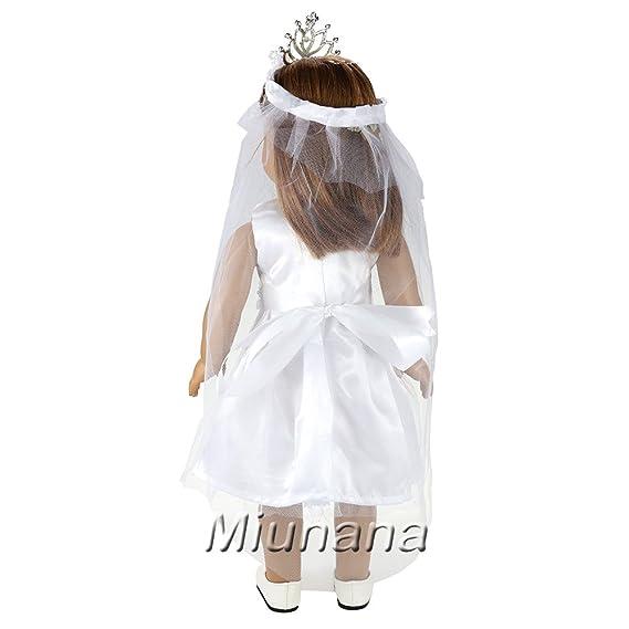 Amazon.es: Miunana 1 Vestido Novia Vestir Ropa Boda + 1 Velo + 1 Zapatos + 1 Corona +1 Biblia Accesorios como Regalo para 18 pulgadas Muñeca 46 cm American ...