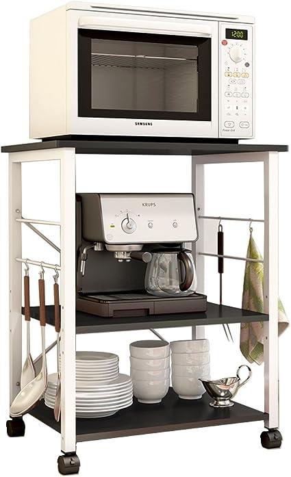 soges 3-Tier Kitchen Bakers Rack Utility Microwave Oven Stand Storage Cart Workstation Shelf, Black W4-BK-N
