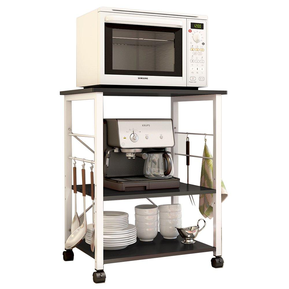 soges 3-Tier Kitchen Baker's Rack Utility Microwave Oven Stand Storage Cart Workstation Shelf, Black W4-BK-N by soges