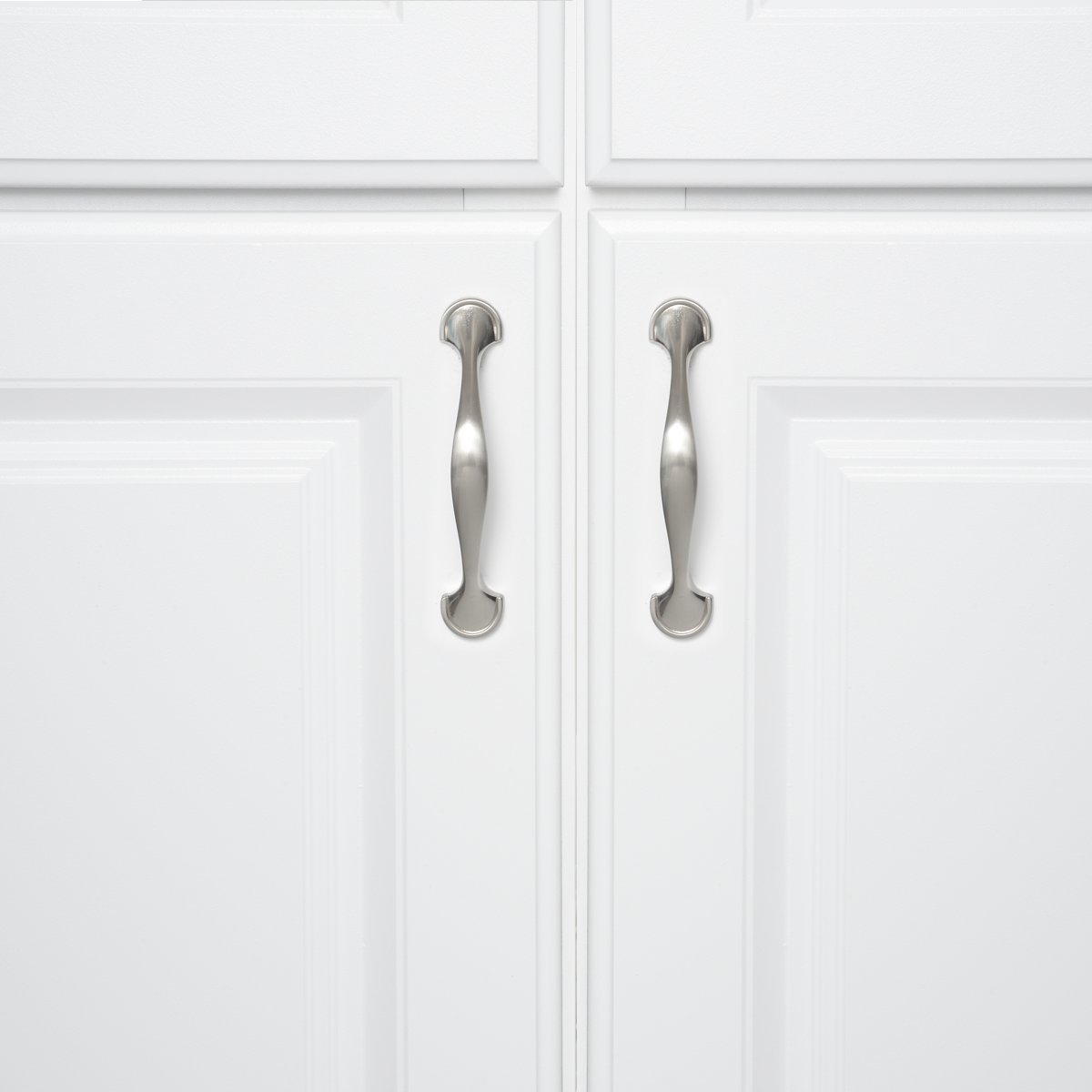 3 Hole Center Basics Rounded Foot Cabinet Handle 4.63 Length 10-Pack Satin Nickel