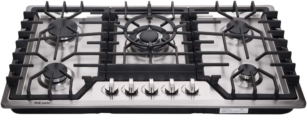 """Deli-mate 34"""" Gas Cooktop Dual Fuel 5 Sealed Burners Gas Cooktop Stainless Steel Drop-In Gas Stovetop Gas Burner DM528-SA06 Gas Hob Gas Cokker"""