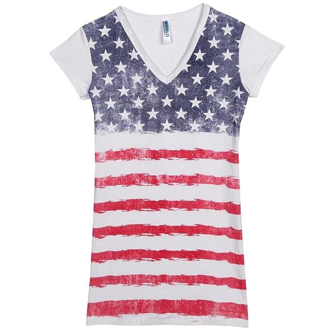 Estrellas Estados Y De Camiseta Envejecida Unidos Rayas Mujer Para ww1PpqH