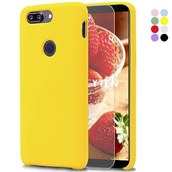 Feyten Funda OnePlus 5T [Cristal Vidrio Templado], Slim Líquido de Silicona Gel Carcasa Anti-Rasguño Protectora Caso para OnePlus 5T (Amarillo)