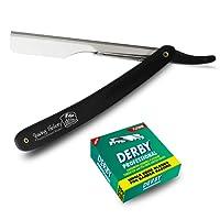 Shaving Factory - Set da barba per uomo con rasoio a mano libera, a lama dritta e 100 lame professionali Derby, a filo singolo