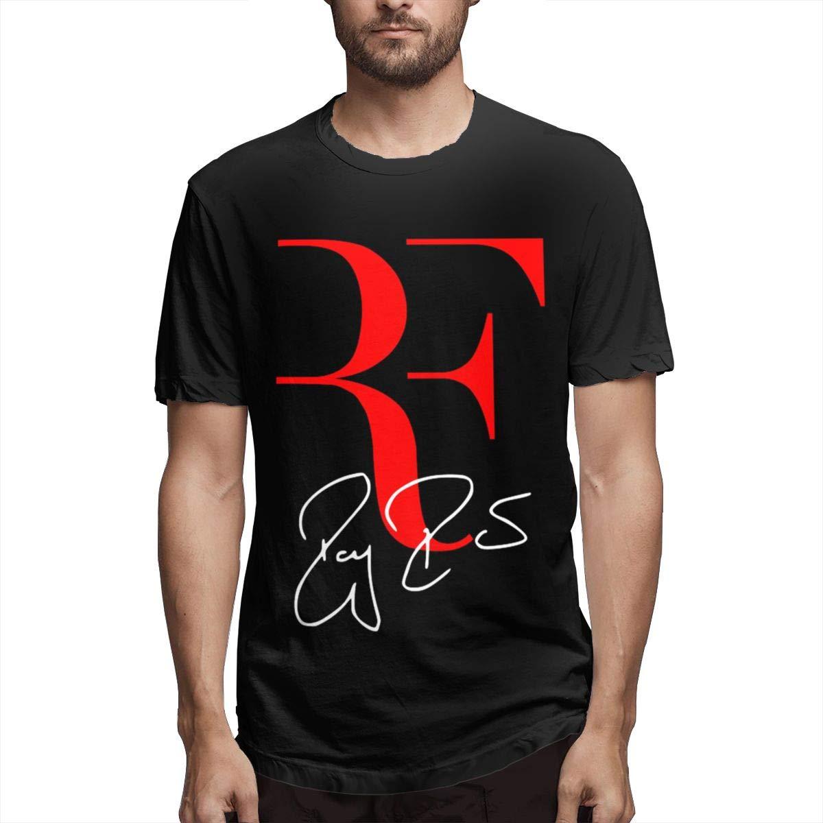 LANBRELLA Men Roger Federer Crew Neck Short Sleeve T Shirts M Black