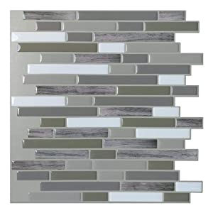 "Art3d Peel and Stick Wall Tile for Kitchen/Bathroom Backsplash, 12""x12"", Long Stone (6 Pack)"