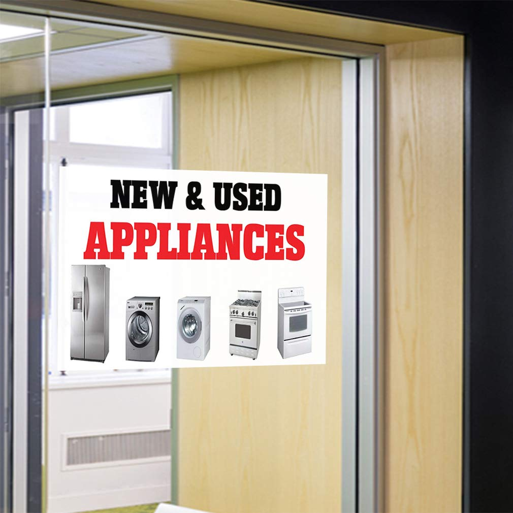 34inx22in Decal Sticker Multiple Sizes New /& Used Appliances Business Business New Used Appliances Outdoor Store Sign White Set of 10