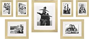 Stonebriar Decorative Stamped Gold 7 Piece Photo Frame Set, Wall Hanging Display, Modern Gallery Wall Set