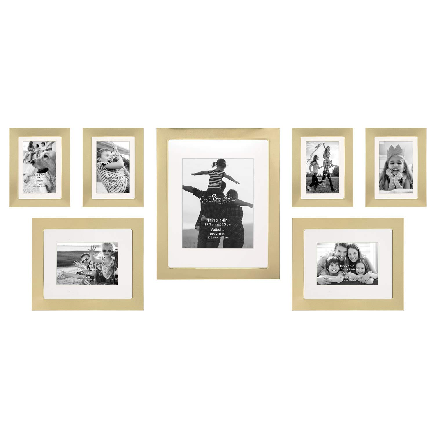 Stonebriar Decorative Stamped Gold 7 Piece Photo Frame Set, Wall Hanging Display, Modern Gallery Wall Set by Stonebriar