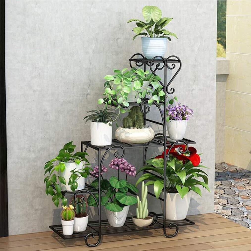 HLQW Eisen-Blumen-Rack, mehrstöckige Indoor-Balkon, Regal, Meat Room, Boden-Typ Green Flower Flower Rack, schwarz. (Size : M)