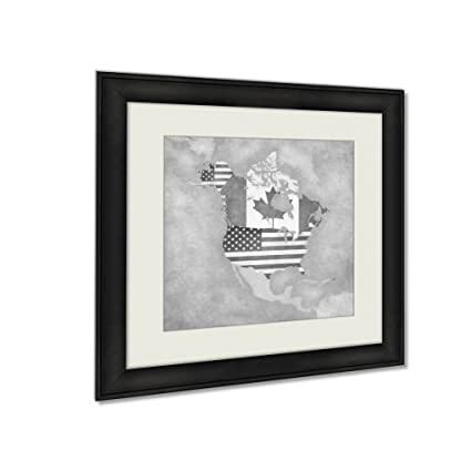 Amazon.com: Ashley Framed Prints USA And Canada On The Outline Map ...