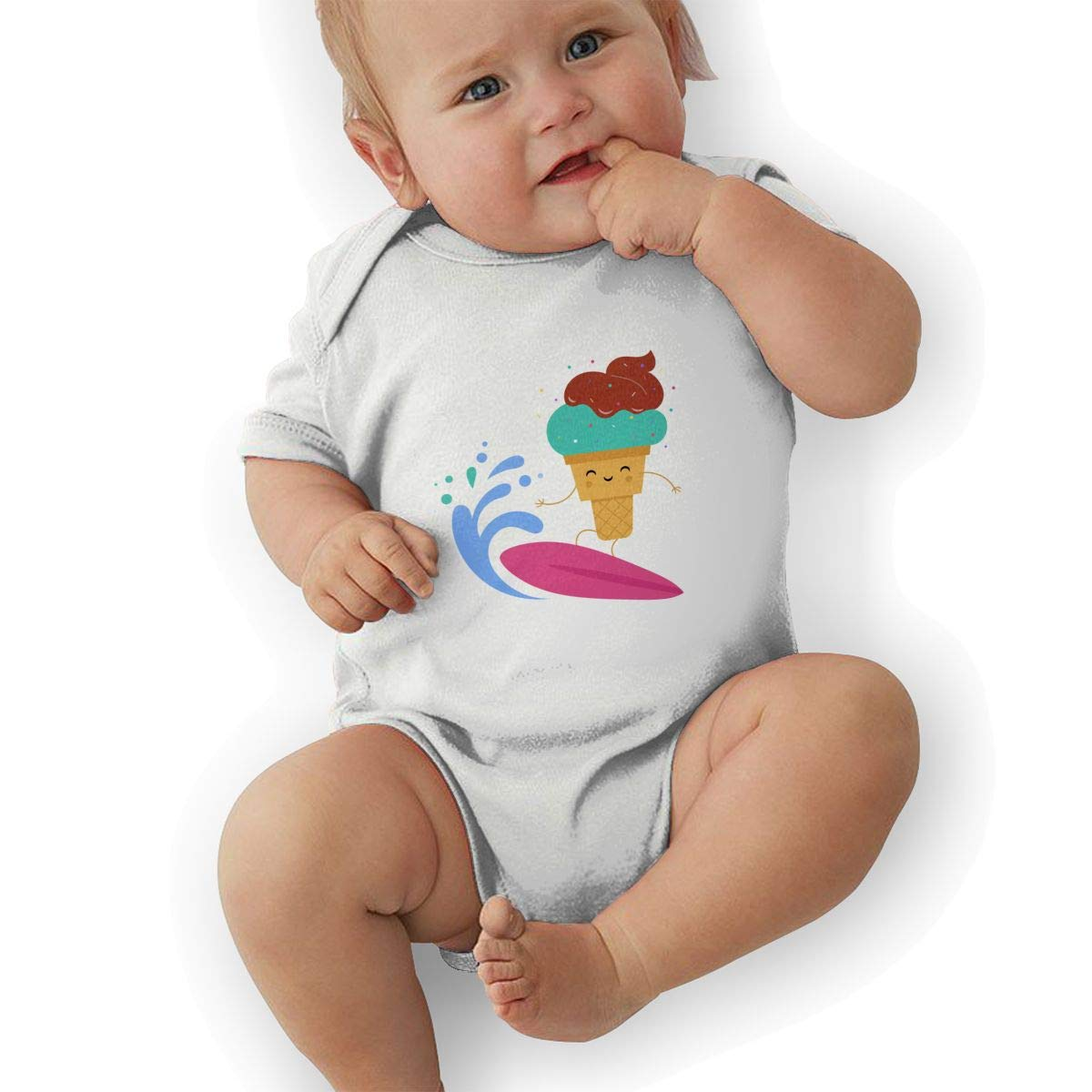 Newborn Baby Boys Bodysuit Short-Sleeve Onesie Surfing Ice Cream Print Rompers Winter Pajamas