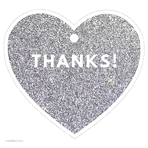 Andaz Press Heart Gift Tags, Modern Style, Thanks!, Printed Silver Glitter, 30-Pack