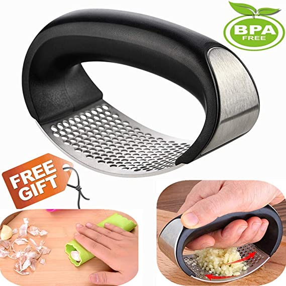 Garlic Press Rocker Silicon Garlic Peeler Stainless Steel Garlic Mincer Clove Crusher Masher Mincing Tool Innovative NEW Kitchen Gadget (silver black color)
