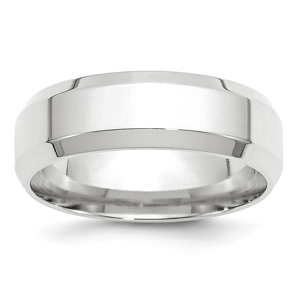 Top 10 Jewelry Gift 14KW 7mm Bevel Edge Comfort Fit Band Size 13