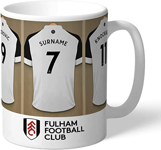 Personalised Fulham FC Dressing Room Shirts Mug