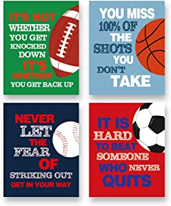 "Colorful Sport Inspirational Quote Art Print--Basketball Football Baseball Soccer Sport Motivotional Saying Canvas Wall Art--(8""X10""X4 pieces, Unframed)--Sport Themed for Boy Playroom Classroom Decoration"