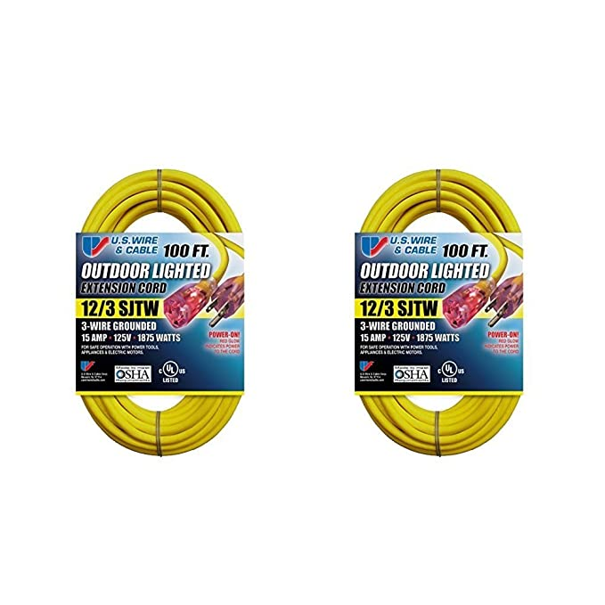 US Wire 12/3 SJTW 100-Foot Outdoor Lighted Extension Cord (Yellow, 2 ...