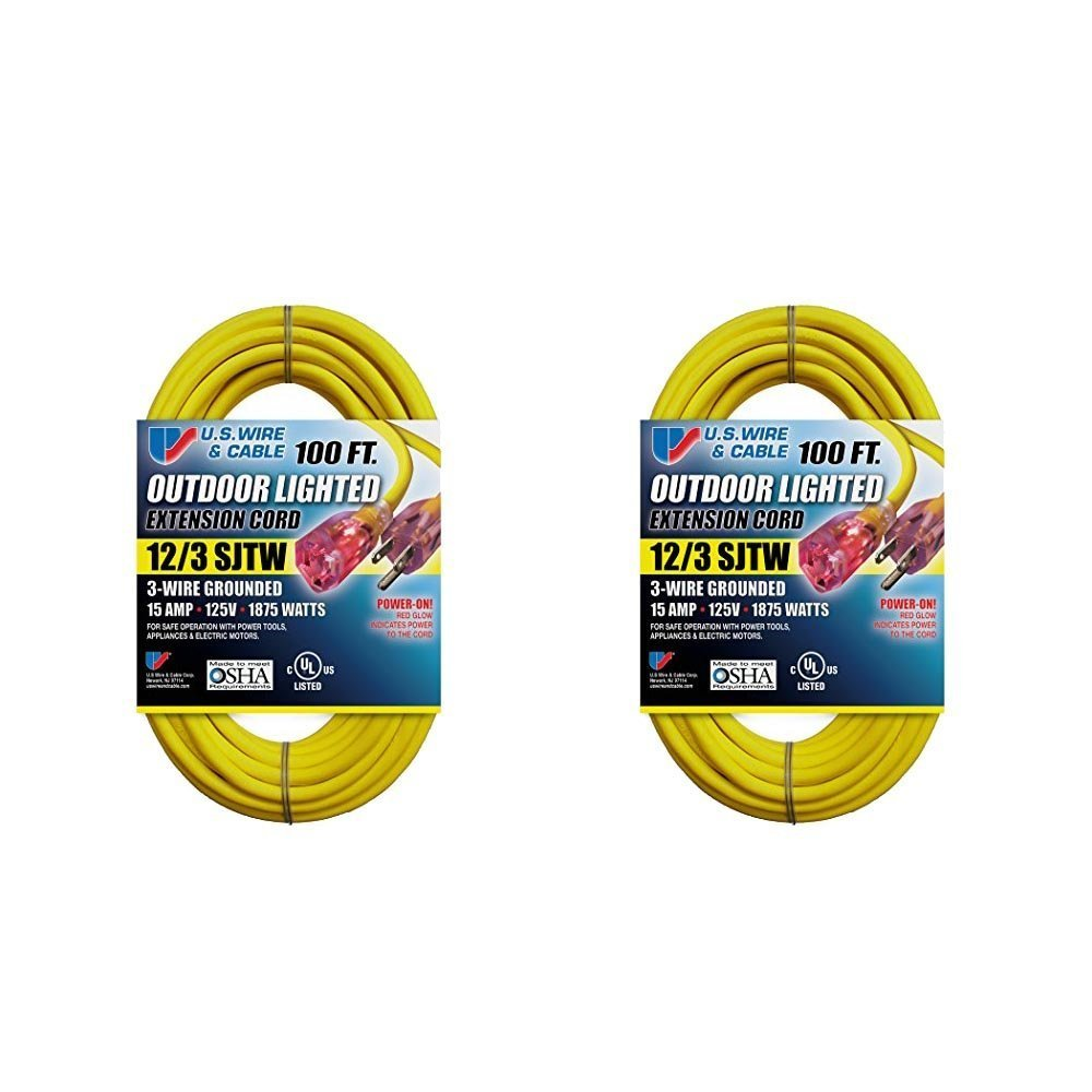 US Wire 12/3 SJTW 100-Foot Outdoor Lighted Extension Cord (Yellow, 2-Pack) by US Wire and Cable