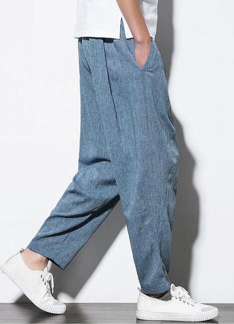SHOWNO Mens Cotton Linen Plain Casual Plus Size Elastic Waist Loose Cropped Harem Pants Trousers