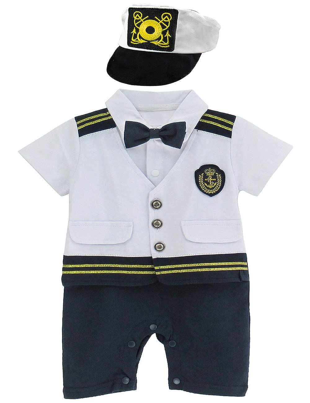 321819fa0 Amazon.com  A J DESIGN Baby Boys  Halloween Captain Costume Romper ...