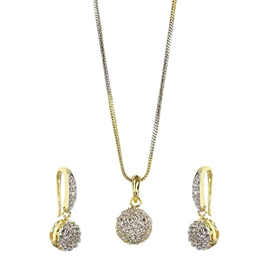 Buy youbella gold plated american diamond pendant necklace set with youbella gold plated american diamond pendant necklace set with earrings for girls and women aloadofball Images