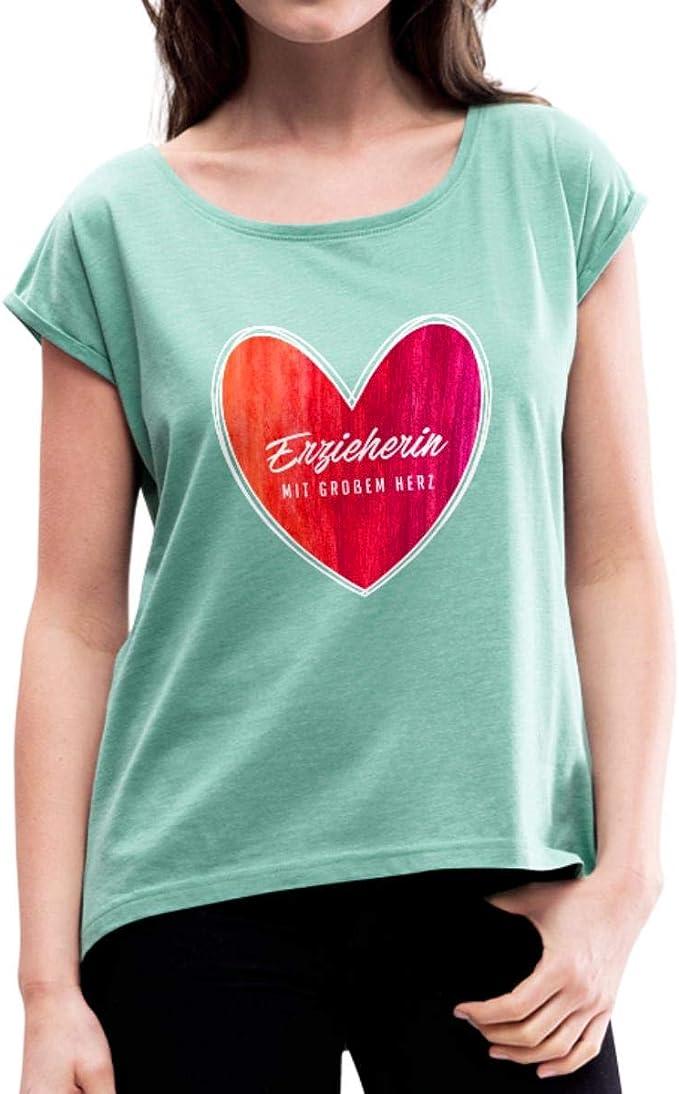 Erzieherin Spruch Trinken Nicht Nur Kaffee Frauen T-Shirt mit gerollten Ärmeln