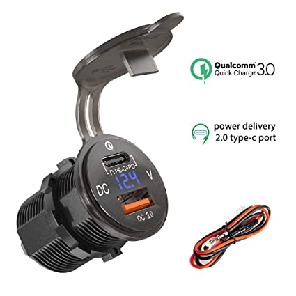Qidoe Cargador Dos USB Toma de corriente QC 3,0 + PD 2,0 12V/24V