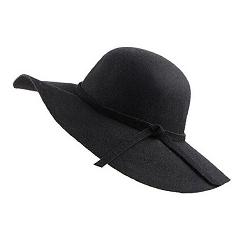 d0d2eb6b52bd Maybest Women Vintage Wide Brim Wool Felt Fedora Cloche Floppy Hat Cap