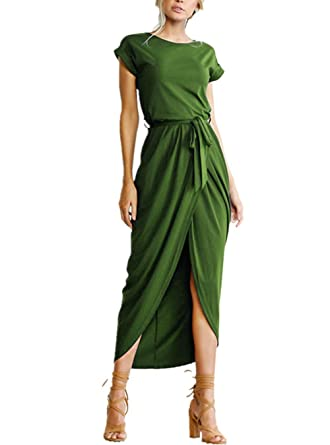 14b05460046c roswear Women s Casual Short Sleeve Front Slit High Low Long Maxi Dress  Army Green Small