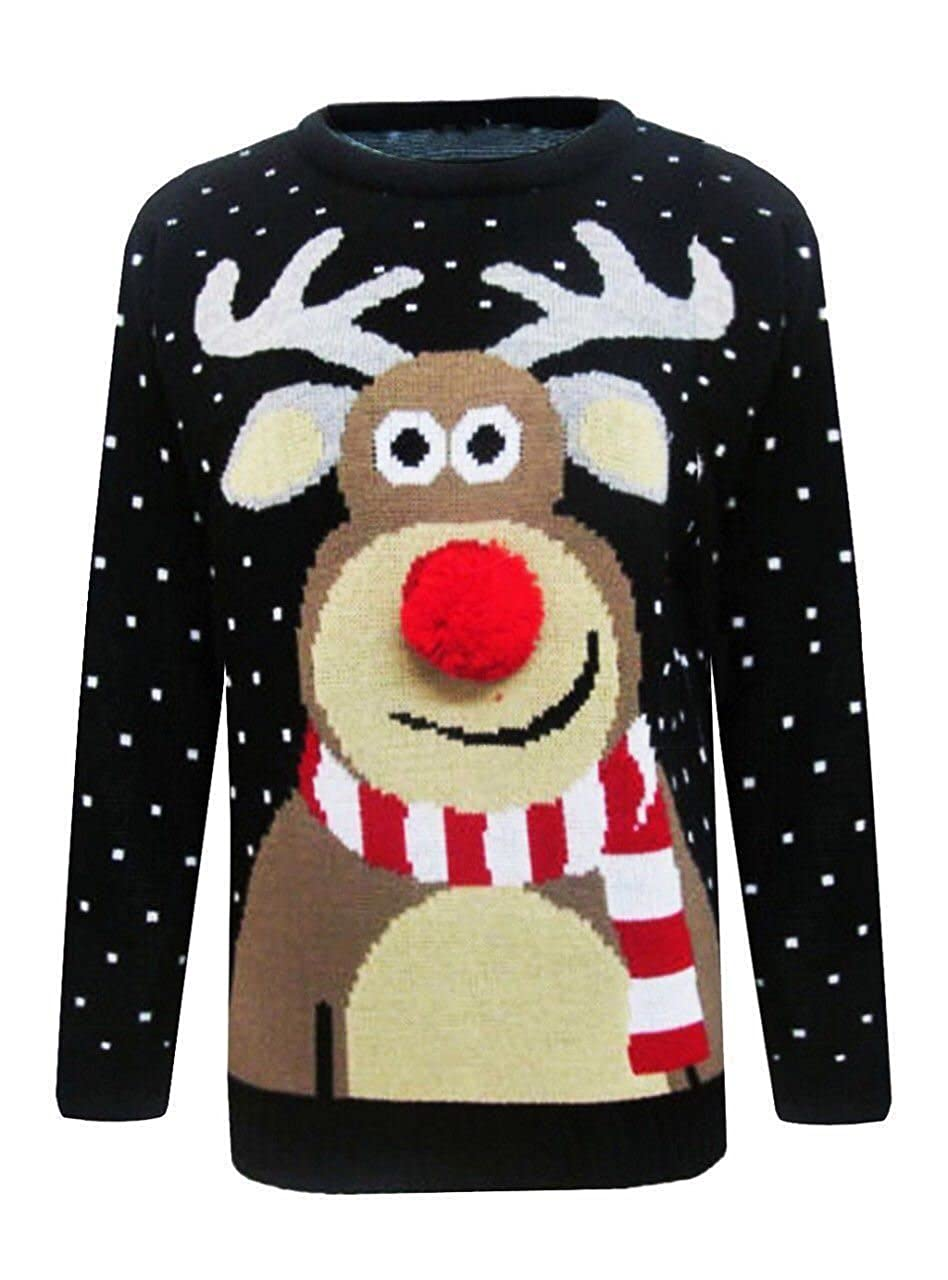 Mens Christmas Xmax To the Pub Ladies Pom pom Reindeer Navy Unisex Sweater Jumper Size S-3XL