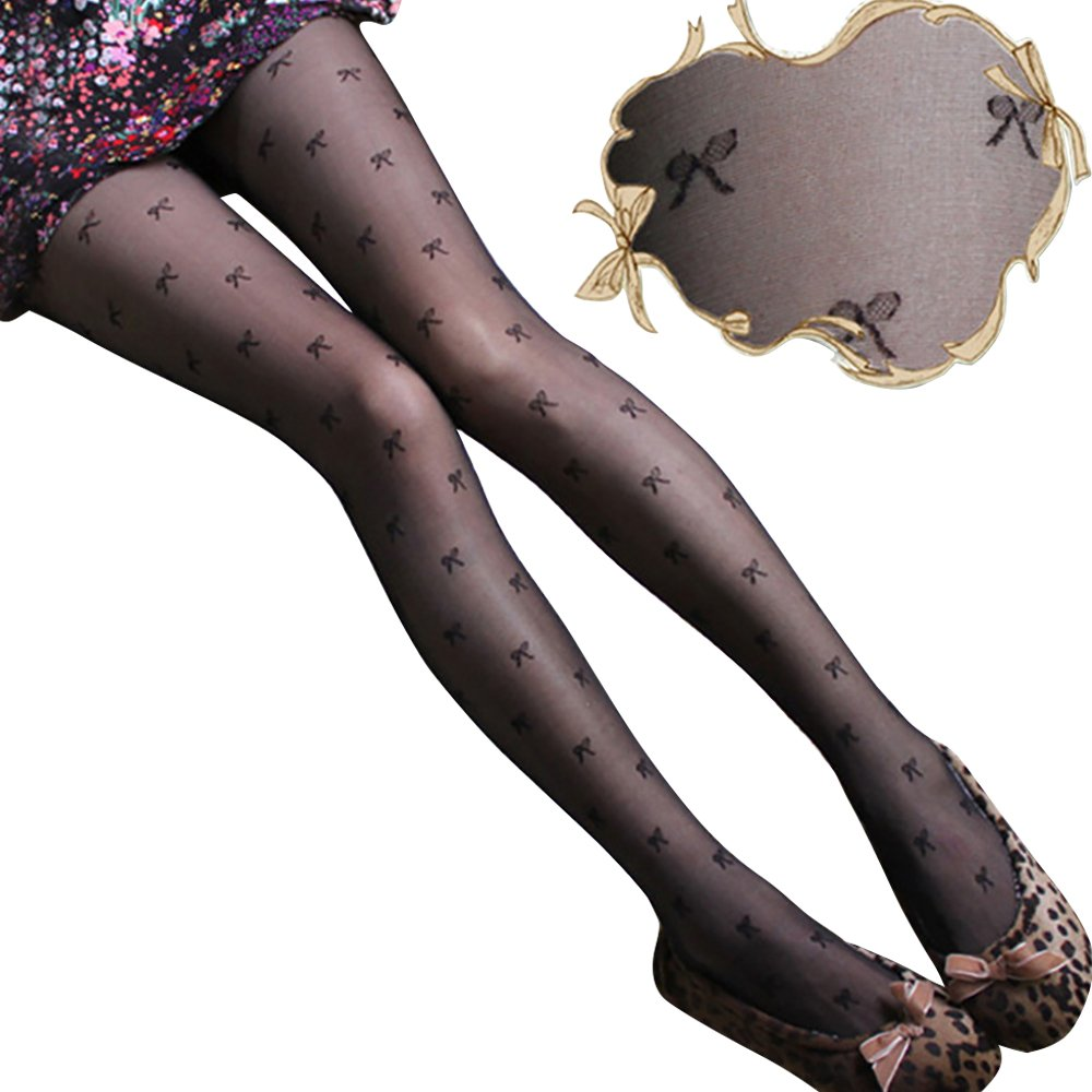 56efe7691 Gofypel Sexy Stockings Thin Polka Pantyhose Tights with Thigh High Waist  Printed Stockings Pattern Black Silk Stoking (Bowknot) at Amazon Women s  Clothing ...