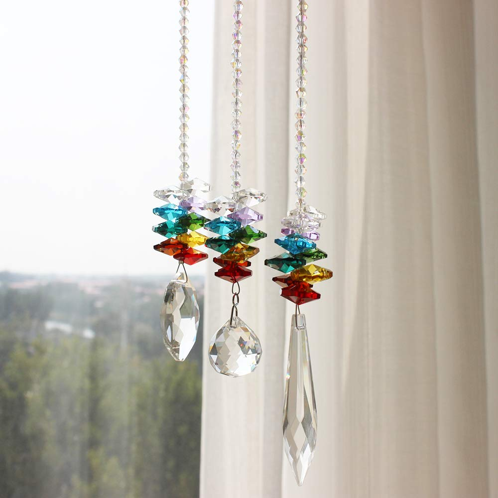 WEISIPU 3PCS Crystals Ball Prisms Suncatcher Hanging Ornament Crystals Colorful Crystal Pendants for Home, Office, Garden Decoration, Car Pendant, Birthday Present