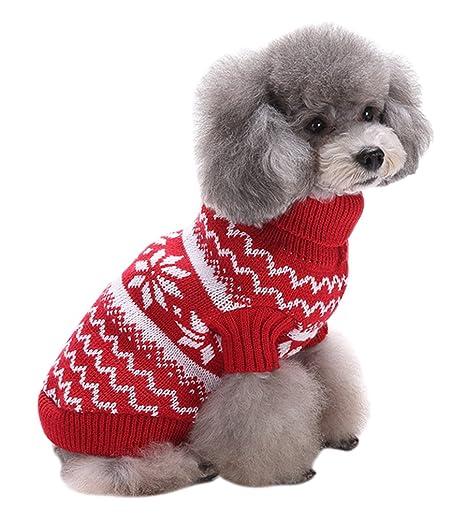 PassMe Ropa para Perros Mascotas Suéter Prednda de Punto Cuello Alto Chaqueta Abrigo Cálido Invierno Otoño