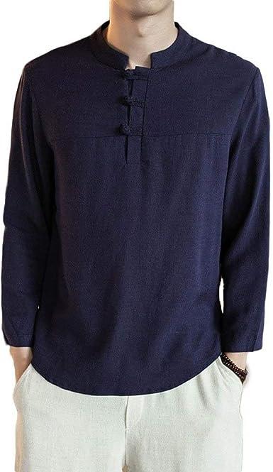 Camiseta De Hombre Estilo Chino Camisa De Algodón Y Lino Basic Camiseta Vintage Blusa Bordada con Cuello En V Tops: Amazon.es: Ropa y accesorios