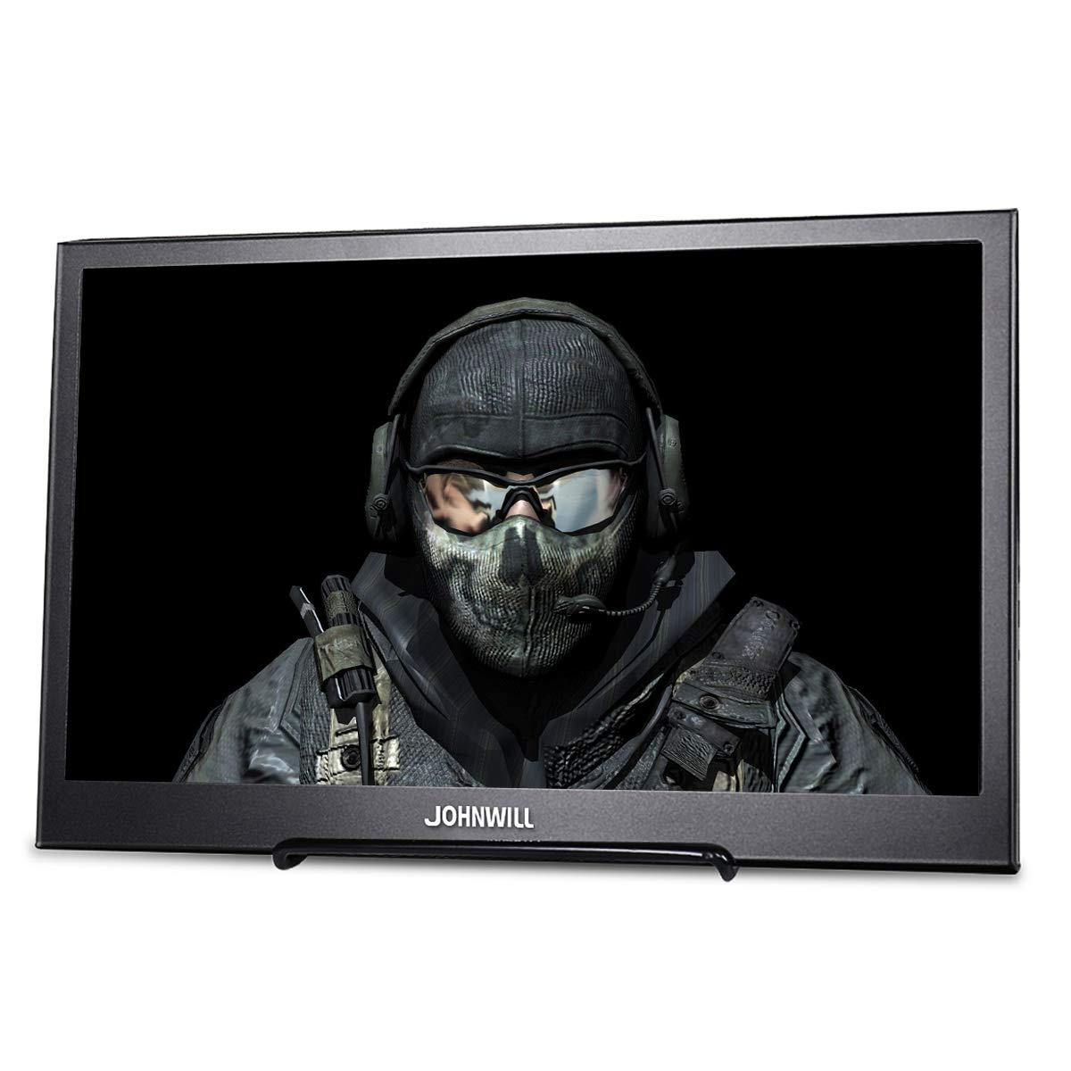 JOHNWILL Monitor portátil 13.3 Pulgadas IPS Pantalla Full HD 1920 x 1080 Monitor Ultra Delgado Carcasa de Metal Negro