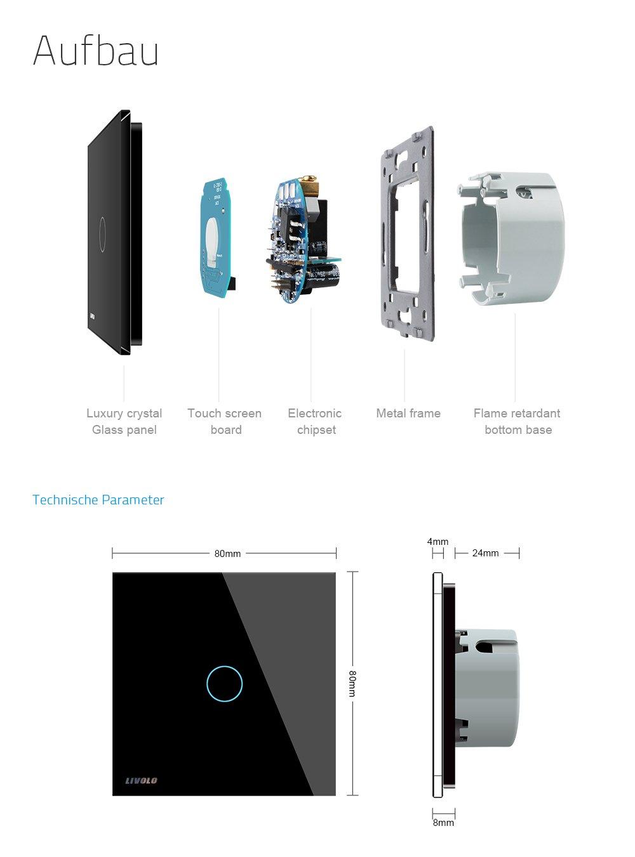LIVOLO Schwarz Touch Sensor Lichtschalter mit LED Anzeige Licht ...