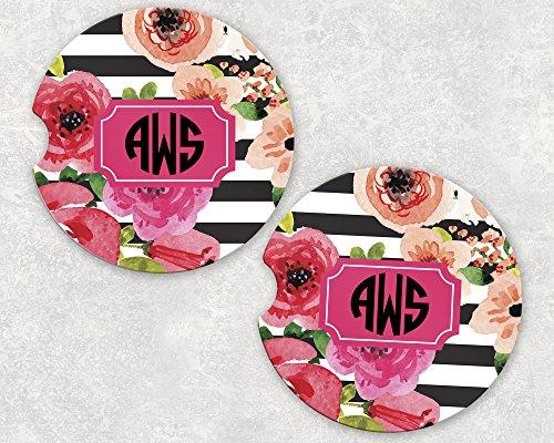 Monogrammed Car Coasters - Absorbent Sandstone - Black Stripe Watercolor Flowers (SET of 2)