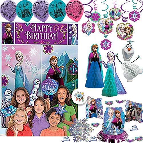 Frozen Birthday Party Decorations Pack With Table Decorating Kit, Wall Scene Setter and Photo Props, Balloons. Swirl and Honeycomb Decorations, Snowflake Garland, Exclusive Pin By Another Dream! -
