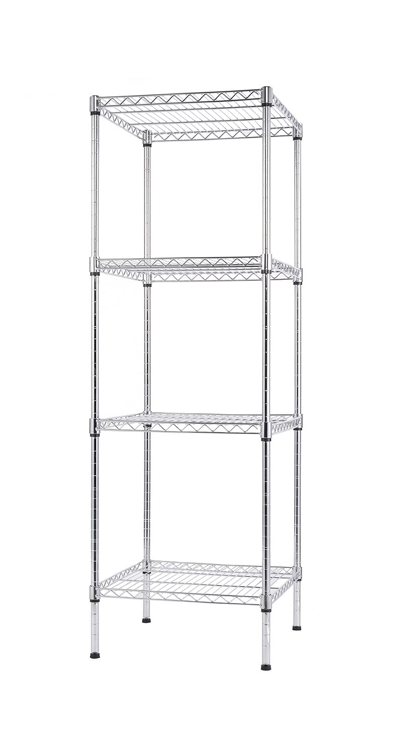 Finnhomy 4 Shelves Adjustable Steel Wire Shelving Rack for Smart Storage in Small Space or Room Corner, Metal Heavy Duty Storage Unit, Bathroom Storage Tower