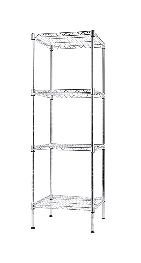 Finnhomy 4 Shelves Adjustable Steel Wire Shelving Rack For Smart Storage In  Small Space Or Room