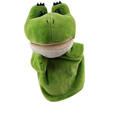 E-SCENERY Cute Cartoon Animal Hand Puppets with Working Mouth - Soft Plush Kids Toys for Children, Story Telling Time (Frog)