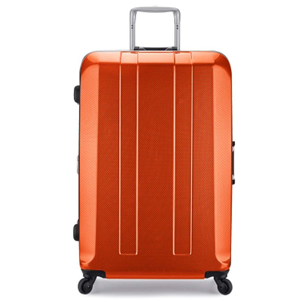 トロリーケース PC 素材 ハイエンド スーツケース 旅行 スーツケース パスワード スーツケース 配送ボックス ユニバーサルホイール (色:オレンジ、サイズ:26インチ) B07Q6QFJJW