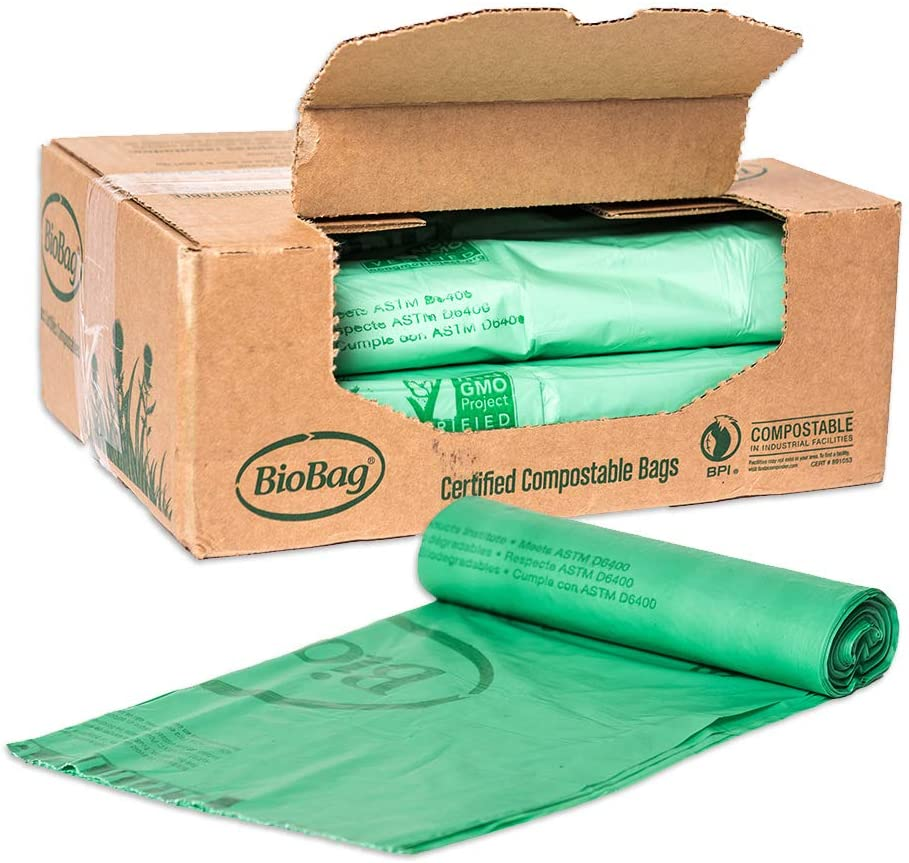 BioBag Compostable Trash Can Liners, 8 Gallon, 500 Count