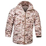 Tactical Waterproof Raincoat Thin Military Hunter Clothes Quick-drying perspiration sunscreen UV protection Breathable Outdoor Camouflage Lightweight Fast Dry Jacket (XXL, Digital Desert CAMO)