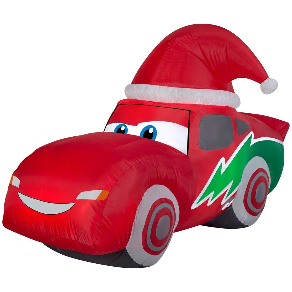 Inflatable McQueen 6 ft. Includes Santa Hat
