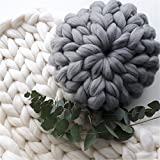 zhengjun Soft Warm Wool Throw Pillow Super Chunky Giant Wool Yarn Arm Knit Cozy Round Pillow Couch Decorative Pillow