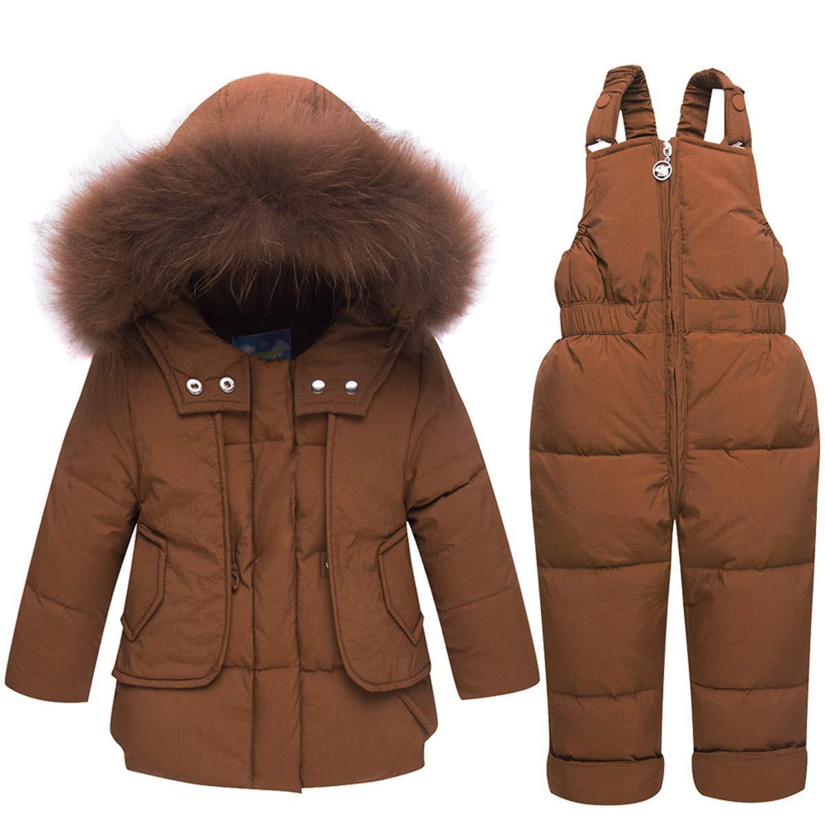 FAIRYRAIN Little Kids Baby Girls Boys Two Piece Winter Warm Zipper Fur Trim Hooded Snowsuit Puffer Down Jacket Snow Ski Bib Pants Outfits Outwear pdfwj-tw1
